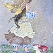Картины и панно ручной работы. Ярмарка Мастеров - ручная работа Картина маслом - Летгий дождь. Handmade.