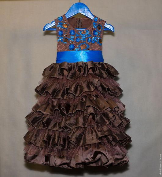 """Одежда для девочек, ручной работы. Ярмарка Мастеров - ручная работа. Купить платье """"Анжелина"""". Handmade. Шоколад, пайетки, валаны, фатин"""