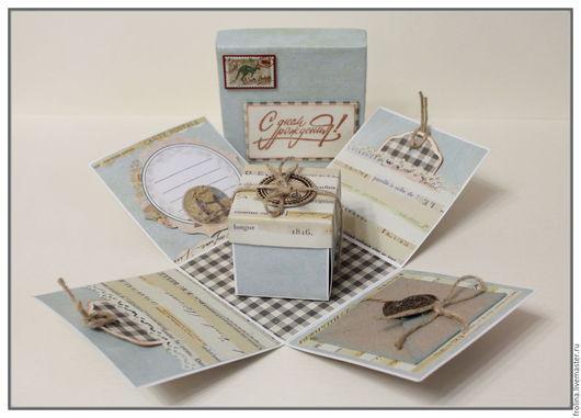 Открытки для мужчин, ручной работы. Ярмарка Мастеров - ручная работа. Купить Мужская коробочка-открытка. Handmade. Бирюзовый, на День рождения