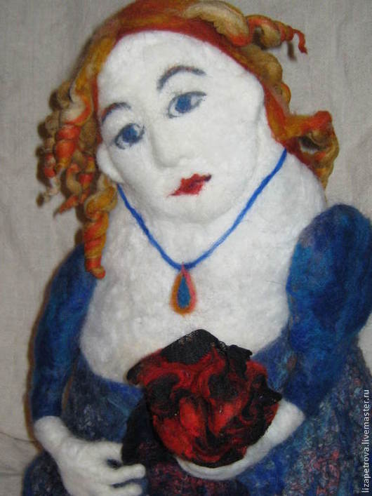 Кухня ручной работы. Ярмарка Мастеров - ручная работа. Купить Дама с розой. Handmade. Синий, подарок, интерьер, войлок