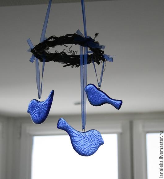 """Подвески ручной работы. Ярмарка Мастеров - ручная работа. Купить Подвеска """"Синие Птицы"""" фьюзинг. Handmade. Птица, подвеска, стекло"""