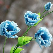 Цветы и флористика ручной работы. Ярмарка Мастеров - ручная работа Голубая эустома из полимерной глины. Handmade.