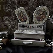 """Для дома и интерьера ручной работы. Ярмарка Мастеров - ручная работа Набор для туалетного столика""""История любви"""". Handmade."""