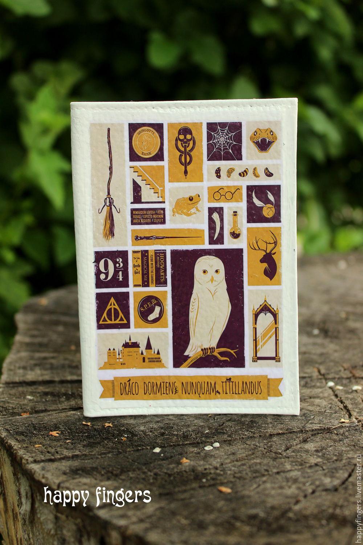 Leather passport cover 'Harry Potter' white owl, Cover, Elektrostal,  Фото №1