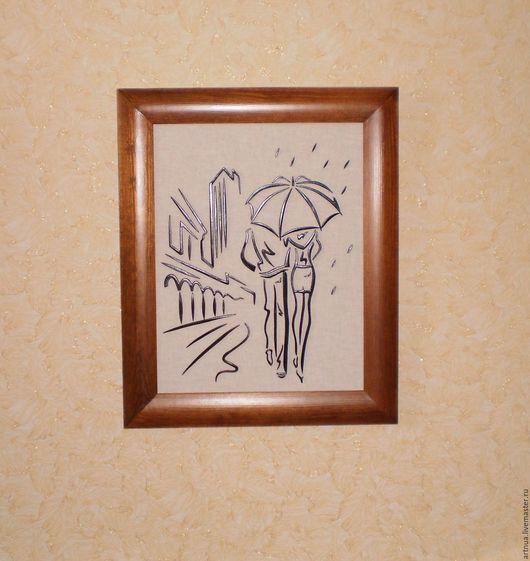 """Люди, ручной работы. Ярмарка Мастеров - ручная работа. Купить Картина из дерева """"Пара под зонтом"""". Handmade. Черный, зонт"""