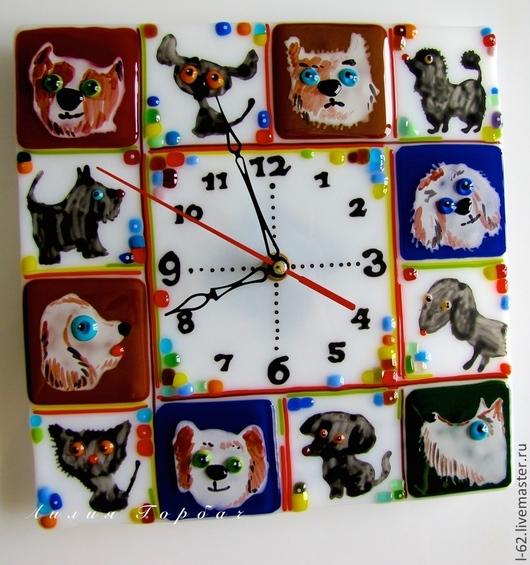 Часы для дома ручной работы. Ярмарка Мастеров - ручная работа. Купить фьюзинг, часы из стекла  Собако-Час. Handmade. часы