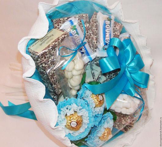 """Подарочные наборы ручной работы. Ярмарка Мастеров - ручная работа. Купить Чайно-конфетный  букет """"Остров чудес"""". Handmade. Белый"""