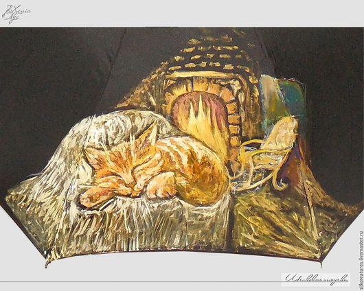 """Зонты ручной работы. Ярмарка Мастеров - ручная работа. Купить """"Вот дом, в котором живет Кот"""" зонт-трость с рисунком ручная роспись. Handmade."""