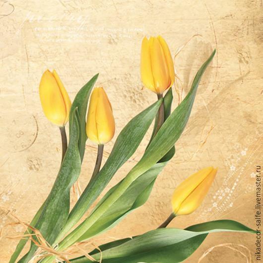 Декупаж и роспись ручной работы. Ярмарка Мастеров - ручная работа. Купить Желтые тюльпаны (SLWI004401) 33х33 салфетка для декупажа. Handmade.