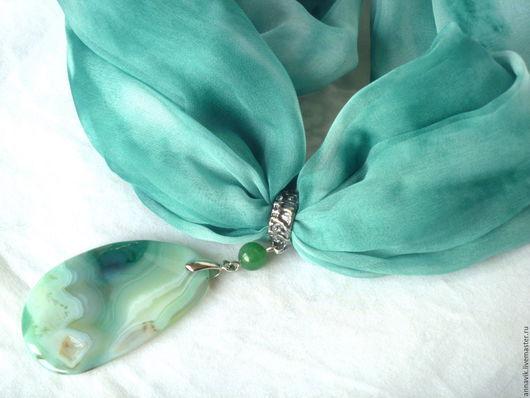 """Колье, бусы ручной работы. Ярмарка Мастеров - ручная работа. Купить Колье """"Зеленый океан"""". Handmade. Морская волна, агат"""