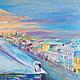 Город ручной работы. Ярмарка Мастеров - ручная работа. Купить Крыши города картина маслом. Handmade. Сиреневый, утро, Питер