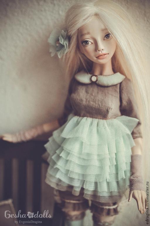 Коллекционные куклы ручной работы. Ярмарка Мастеров - ручная работа. Купить Есения- шарнирная куколка. Handmade. Мятный, весна