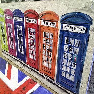 Картины и панно ручной работы. Ярмарка Мастеров - ручная работа Панно на дереве 80х45 см Телефонные будки Поп-Арт W0947. Handmade.