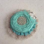 """Украшения ручной работы. Ярмарка Мастеров - ручная работа """"Mint boho"""" брошь цветок  бирюзовый серый мятный. Handmade."""