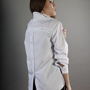 Одежда ручной работы. Ярмарка Мастеров - ручная работа Белая рубашка с дополнительной застежкой на спинке. Handmade.