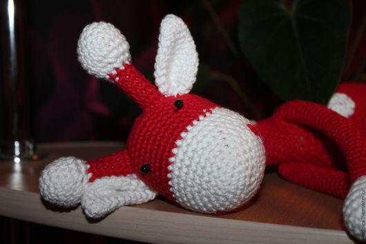 Игрушки животные, ручной работы. Ярмарка Мастеров - ручная работа. Купить жираф красный. Handmade. Ярко-красный, хлопок 100%