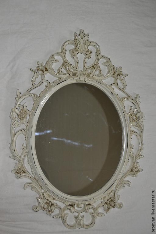 Зеркала ручной работы. Ярмарка Мастеров - ручная работа. Купить Зеркало шебби-шик 2. Handmade. Белый, пластиковая основа