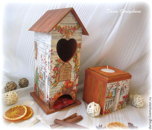 """Кухня ручной работы. Ярмарка Мастеров - ручная работа. Купить Кухонный набор: чайный домик и подсвечник-шкатулочка """"Осенний урожай"""". Handmade."""