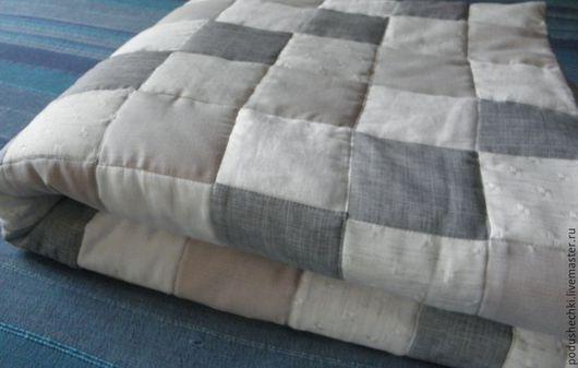 """Текстиль, ковры ручной работы. Ярмарка Мастеров - ручная работа. Купить Льняное покрывало """"Квадраты"""". Handmade. Серый, лоскутное покрывало"""