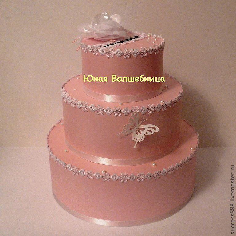 Свадебные аксессуары ручной работы. Ярмарка Мастеров - ручная работа. Купить Сундук для денег (казна) в виде торта. Handmade. Торт