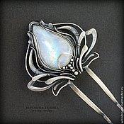 Украшения ручной работы. Ярмарка Мастеров - ручная работа серебряная шпилька с адуляром Лилия. Handmade.