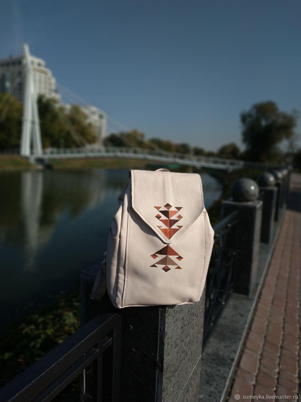 Кожаный Молочный рюкзак с росписью, Рюкзаки, Харьков,  Фото №1