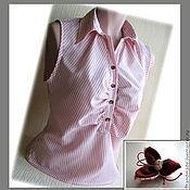 Одежда ручной работы. Ярмарка Мастеров - ручная работа Блузка хлопковая + брошь casual. Handmade.