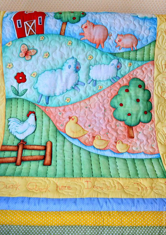 """Пледы и одеяла ручной работы. Ярмарка Мастеров - ручная работа. Купить Детское одеяло  """"Деревенька"""" Текстиль для детской  Для малыша. Handmade."""