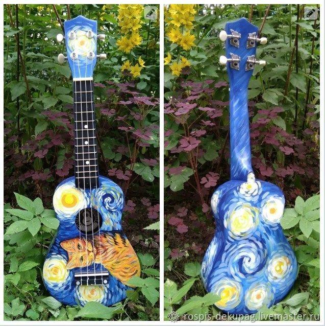 """Струнные инструменты ручной работы. Ярмарка Мастеров - ручная работа. Купить Укулеле(сопрано) """"Рыжий кот""""  гавайская гитара. Handmade. Котенок"""