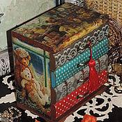Мини-комоды ручной работы. Ярмарка Мастеров - ручная работа Счастье в мишках :), Мини-комод, декупаж. Handmade.