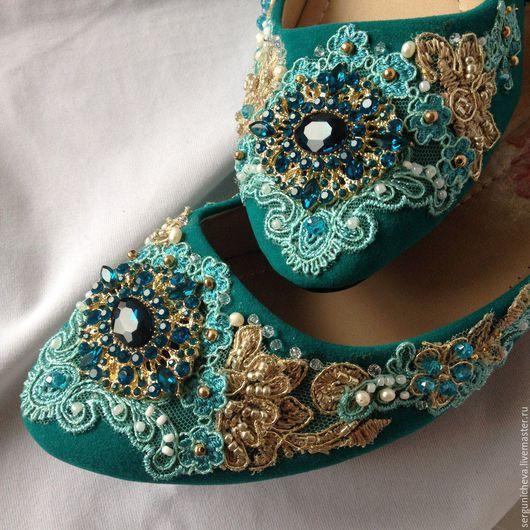 """Обувь ручной работы. Ярмарка Мастеров - ручная работа. Купить Балетки""""Gold Blue"""". Handmade. Красивая обувь, Балетки на заказ, бирюзовая"""