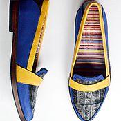 """Обувь ручной работы. Ярмарка Мастеров - ручная работа Лоферы """"Лазурное лето"""". Handmade."""