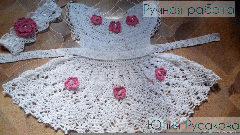 Одежда для девочек, ручной работы. Ярмарка Мастеров - ручная работа. Купить комплект для девочки платье и повязка вязаный крючком. Handmade.