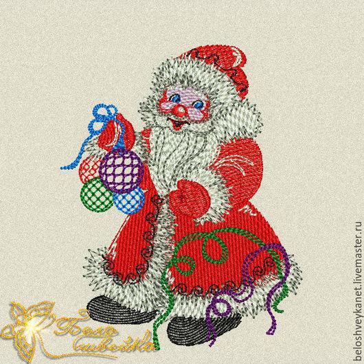 Вышивка ручной работы. Ярмарка Мастеров - ручная работа. Купить Дед мороз новогодний дизайн для машинной вышивки (Код: NB0116). Handmade.