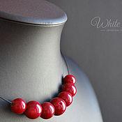 Украшения handmade. Livemaster - original item Necklace and earrings red coral