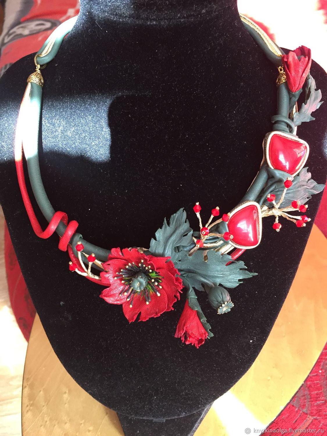 Necklace made of leather and natural stones Maki, Necklace, Krasnoyarsk,  Фото №1