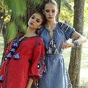 Одежда ручной работы. Ярмарка Мастеров - ручная работа Туника красная и синяя из льна с вышивкой. Handmade.