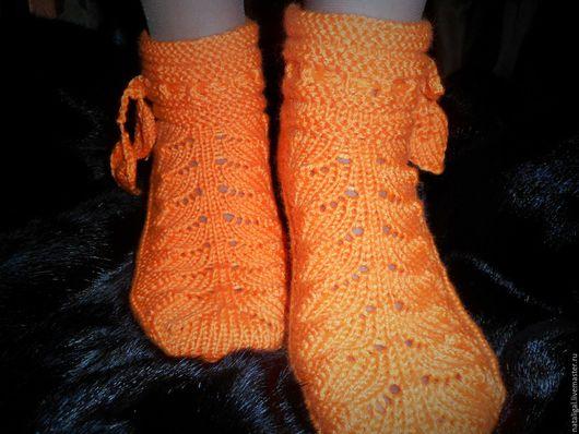 """Обувь ручной работы. Ярмарка Мастеров - ручная работа. Купить Носочки """"Листочки"""". Handmade. Оранжевый, домашняя обувь, женские носки"""