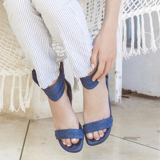 Обувь ручной работы. Ярмарка Мастеров - ручная работа. Купить Buddha+. Лёгкие кожаные сандалии. Handmade. Тёмно-синий