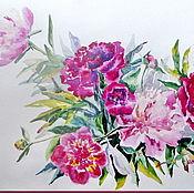 Картины и панно ручной работы. Ярмарка Мастеров - ручная работа Пионы-акварель. Handmade.