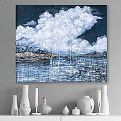 Картины и панно handmade. Livemaster - original item Oil painting Abstract seascape. Picture clouds and sea. Handmade.