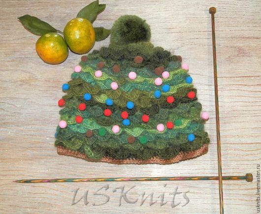 Шапки ручной работы. Ярмарка Мастеров - ручная работа. Купить Вязаная Шапка-елка забавная новогодняя шапка. Handmade. Шапка