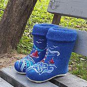 """Обувь ручной работы. Ярмарка Мастеров - ручная работа Валенки детские """"По волнам"""". Handmade."""