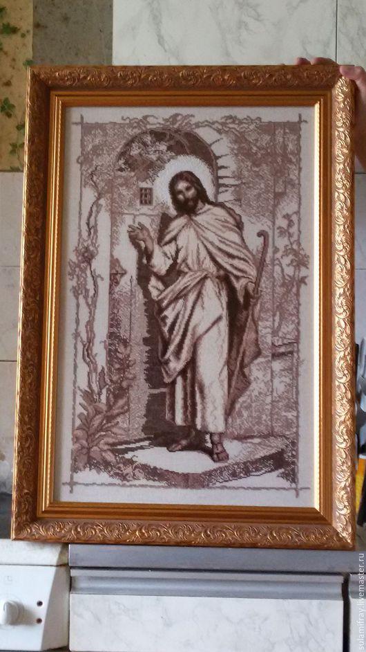 """Люди, ручной работы. Ярмарка Мастеров - ручная работа. Купить Картина """"Иисус стучится в твою дверь"""". Handmade. Бежевый"""