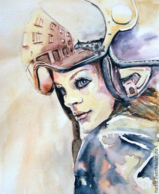 Портрет девушки мотоциклистки в шлеме. Работа выполнена акварелью на высококачественной акварельной бумаге.