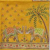 Материалы для творчества ручной работы. Ярмарка Мастеров - ручная работа ост 1 шт  Салфетка Индийские слоны. Handmade.