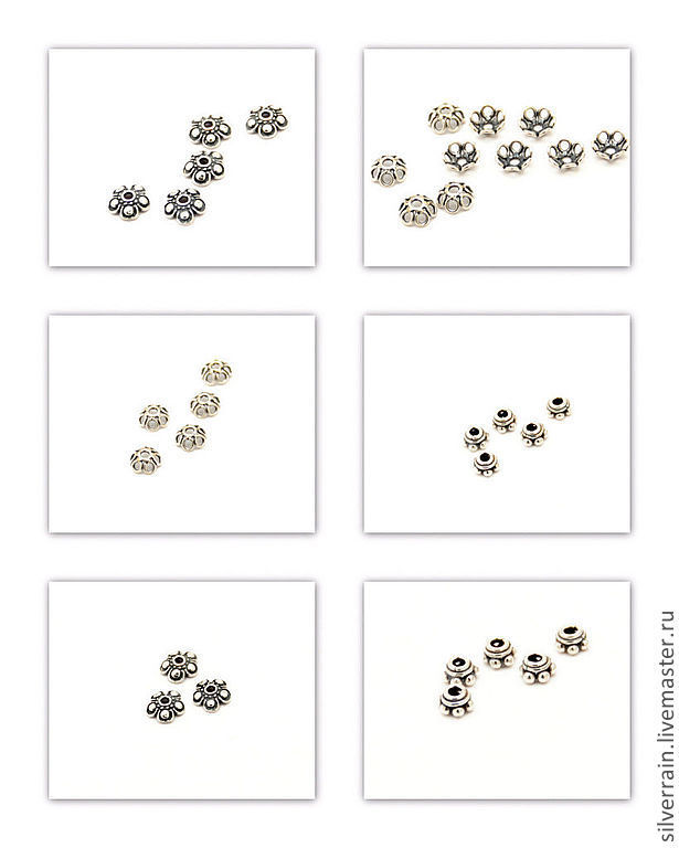 Шапочки для бусин серебро 925 проба, Для украшений, Екатеринбург, Фото №1