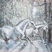 Картины и панно ручной работы. Ярмарка Мастеров - ручная работа Летящие в снегах.... Картина с подсветкой.. Handmade.