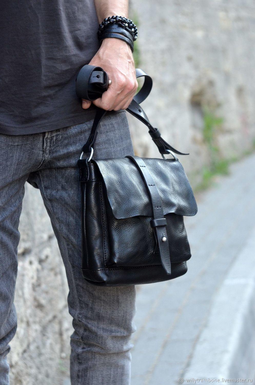 771333459e6e Мужские сумки ручной работы. Небольшая чёрная сумка. Мастерская Глеба  Борисова 'SALT'.