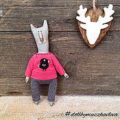 """Куклы и игрушки ручной работы. Ярмарка Мастеров - ручная работа """"Серый в розовом"""" Текстильный Кот. Handmade."""